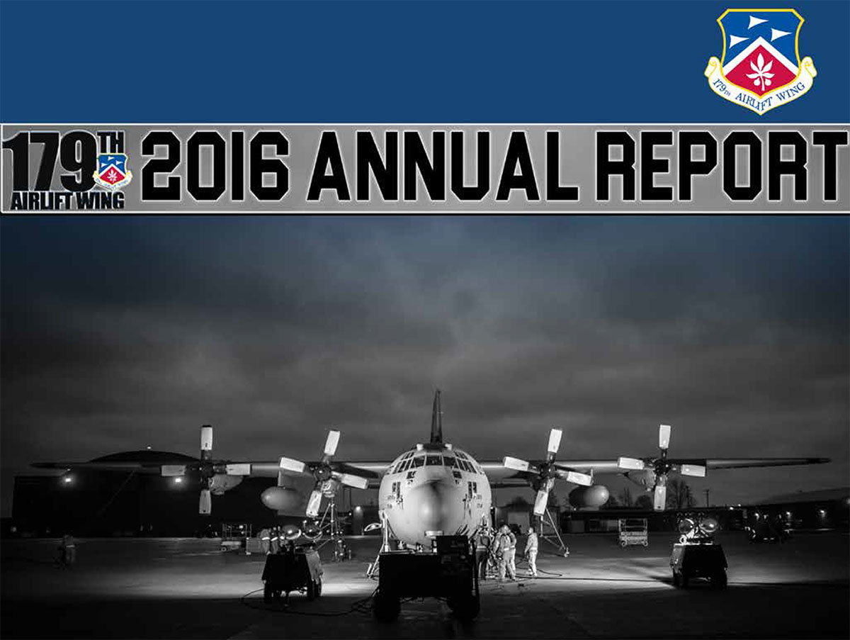 Graphic photo of the cover of the 179th AW 2016 Annual Report