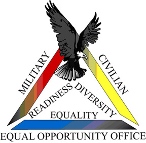 Graphic Equal Opportunity; triangle shape Military, Civilian and Equal Opportunity Office. Inside triangle: Readiness, Diversity, Equality.